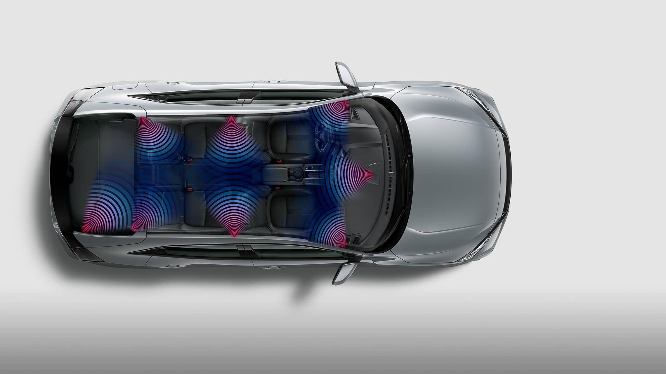 Vista interior aérea del Honda Civic Sport Touring Hatchback2021 en Sonic Gray Pearl con un diagrama ilustrado del sistema de audio con 12altavoces.