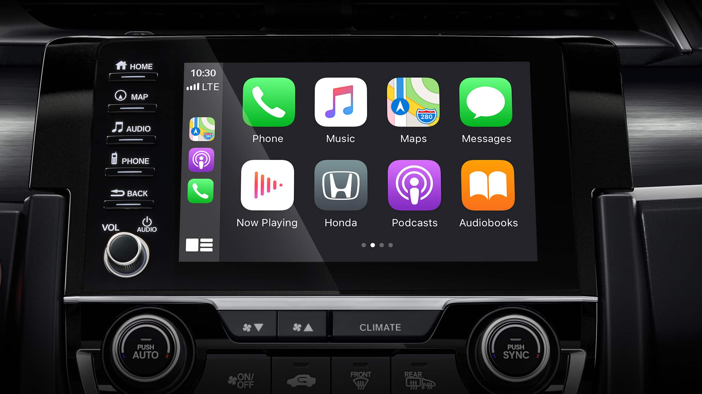 Detalle de pantalla de Apple CarPlay® en el sistema de audio con pantalla táctil del Honda Civic Sport Touring Hatchback2021.