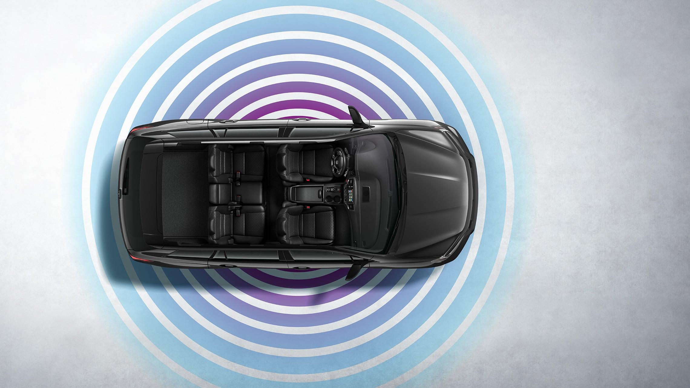 Vista aérea de la Honda Passport Elite2021 en Modern Steel Metallic que muestra la característica de zona interactiva Wi-Fi®.